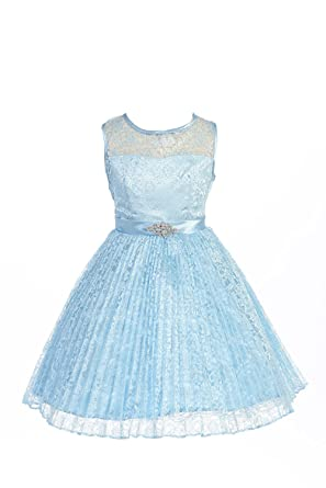 JM DREAMLINE Lovely Tulle Pleated Lace Flower Girl Dress (Blue Size 4)