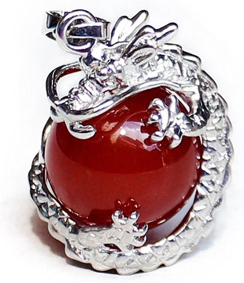 TOOGOO 1 PCS Natural 15mm Piedra Preciosa Bola Colgante Envuelta Plata Aleacion Dragon para Mujeres Encantada Joyeria Collar - Jade rojo