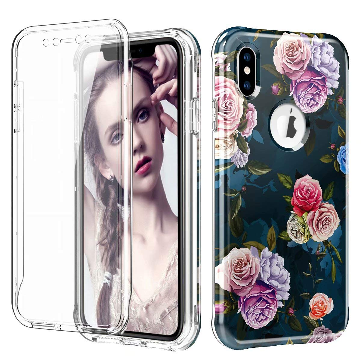 iPhone Xs Max Case, Ranyi Full Body Protective Crystal Transparent Cover Hybrid Bumper [Built in Screen Protector] Shock Absorbing Slim Flexible Resilient TPU Case for 6.5'' iPhone Xs Max (Flower) by Ranyi