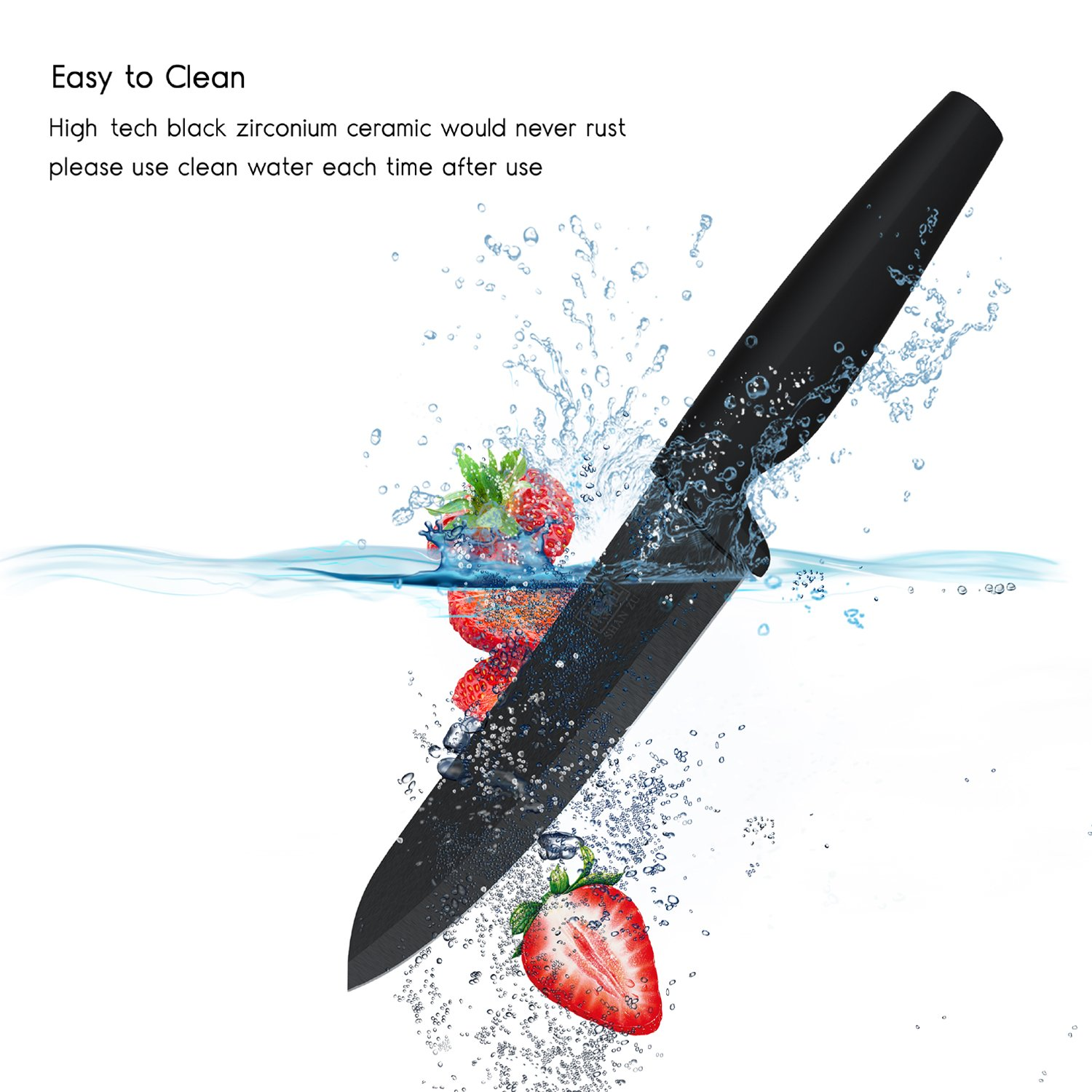 Ceramic Knife Set Black Professional 3 Pieces Sharp Knives with Sheaths by SHAN ZU (Image #5)