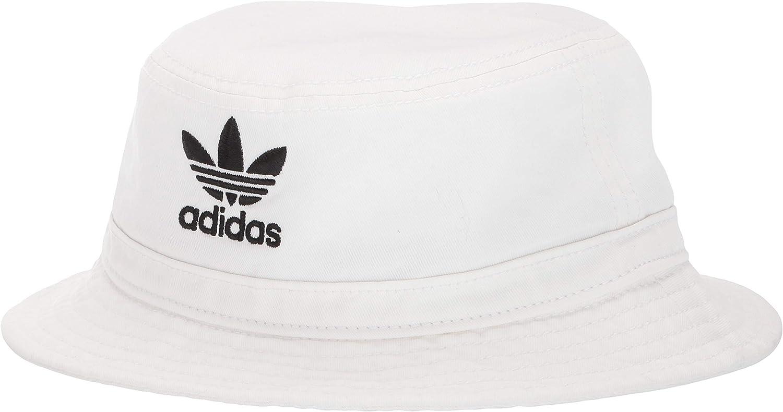 adidas Originals Unisex Washed Bucket Hat, White/Black, ONE SIZE: Clothing