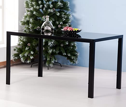 9d93c7810b6 Merax 47 Inch Contemporary Black Rectangle Dining table with Tempered Glass  Top Metal Legs (black