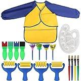 Kesote Conjunto de Pinceles de Pintura para Niños 18 Piezas de Herramientas de Dibujo para Niños Cepillos de Esponja para Pintar para Bricolaje
