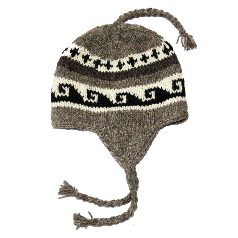 SIJJL Black White Earflap Fleece Hat