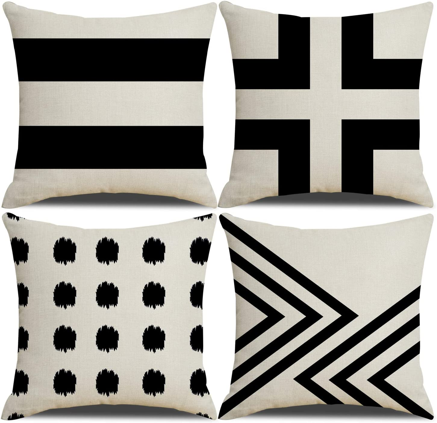 QIQIANY Set of 4 Modern Geometric Decorative Pillow Covers 18x18 Inch Square Linen Black Farmhouse Decor Throw Pillows Home Decor Cushion Covers for Couch Sofa Living Room