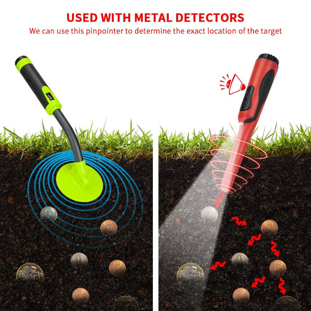 3 Modes Orange GLOBALDETECTOR Metal Detector 360 Degree Search Probe IP68 Waterproof to 5m//16.4feet Treasure Finder for Adults and Kids Portable Pin Pointers Metal Detector with LED Flashlight