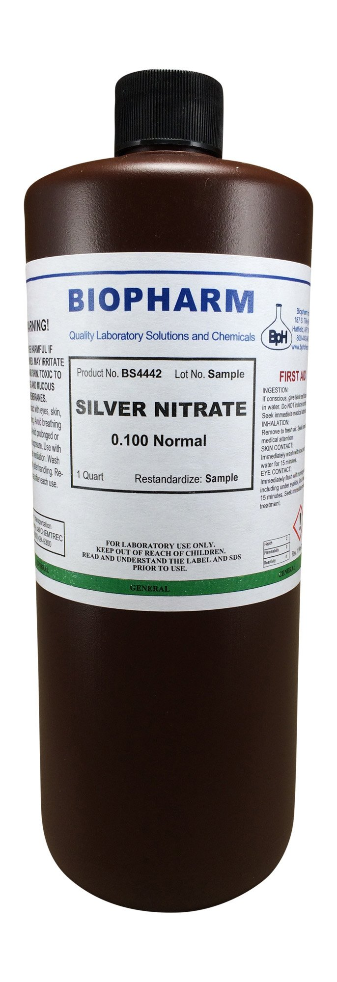 Silver Nitrate 0.100 Normal Standard Solution Quart (950 ml)