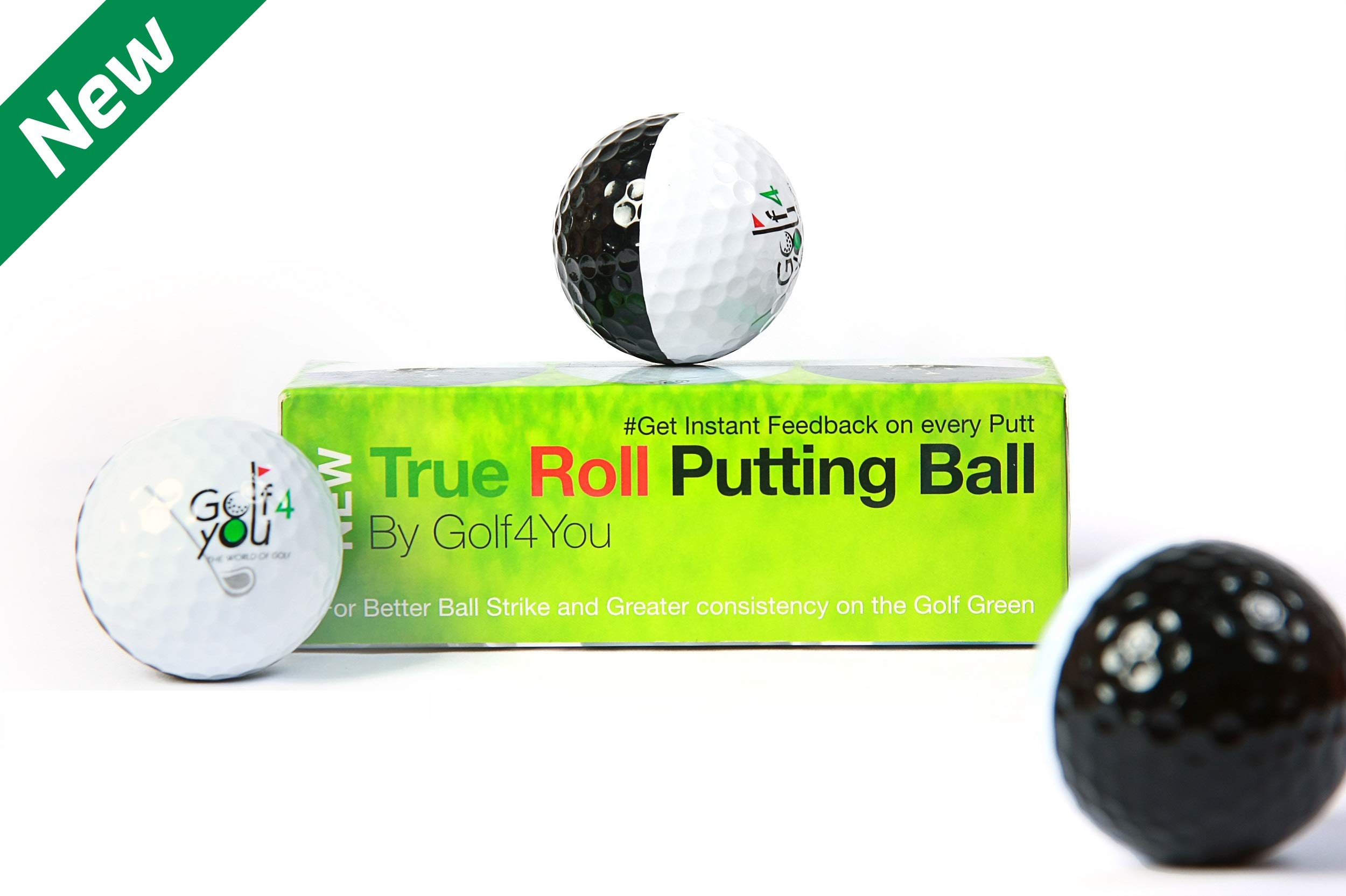 Novelty Golf Practice Putting Balls 3-Pack - True Roll Putting Ball - Putting Alignment Improvement Accessory. ASSESS and Perfect Your Putting Trajectory at a Glance During Your Training Session