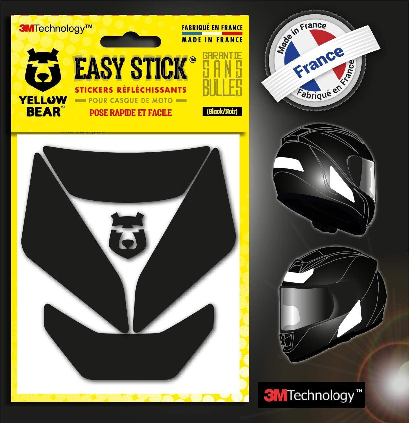 Yellow BearTM Easy Iron Color Negro tecnolog/ía 3MTM Juego de 4 Pegatinas Reflectantes para Casco de Moto 3MTM