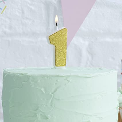 Ginger Ray Gold Glitter 1 Number Party Cake Candle