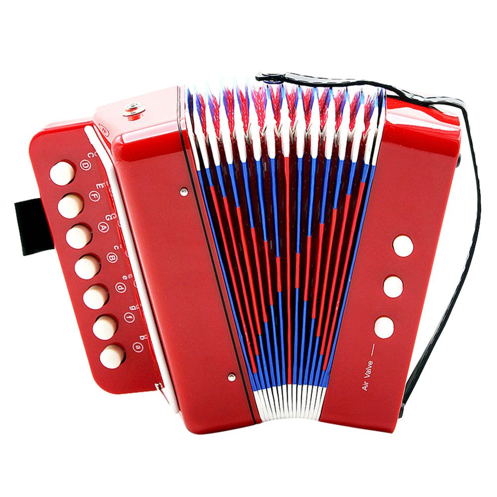 Accordion, 7-Key 2 Bass Mini Small Accordion Educational Musical Instrument Rhythm Toy for Beginner Early Childhood Teaching(Red)