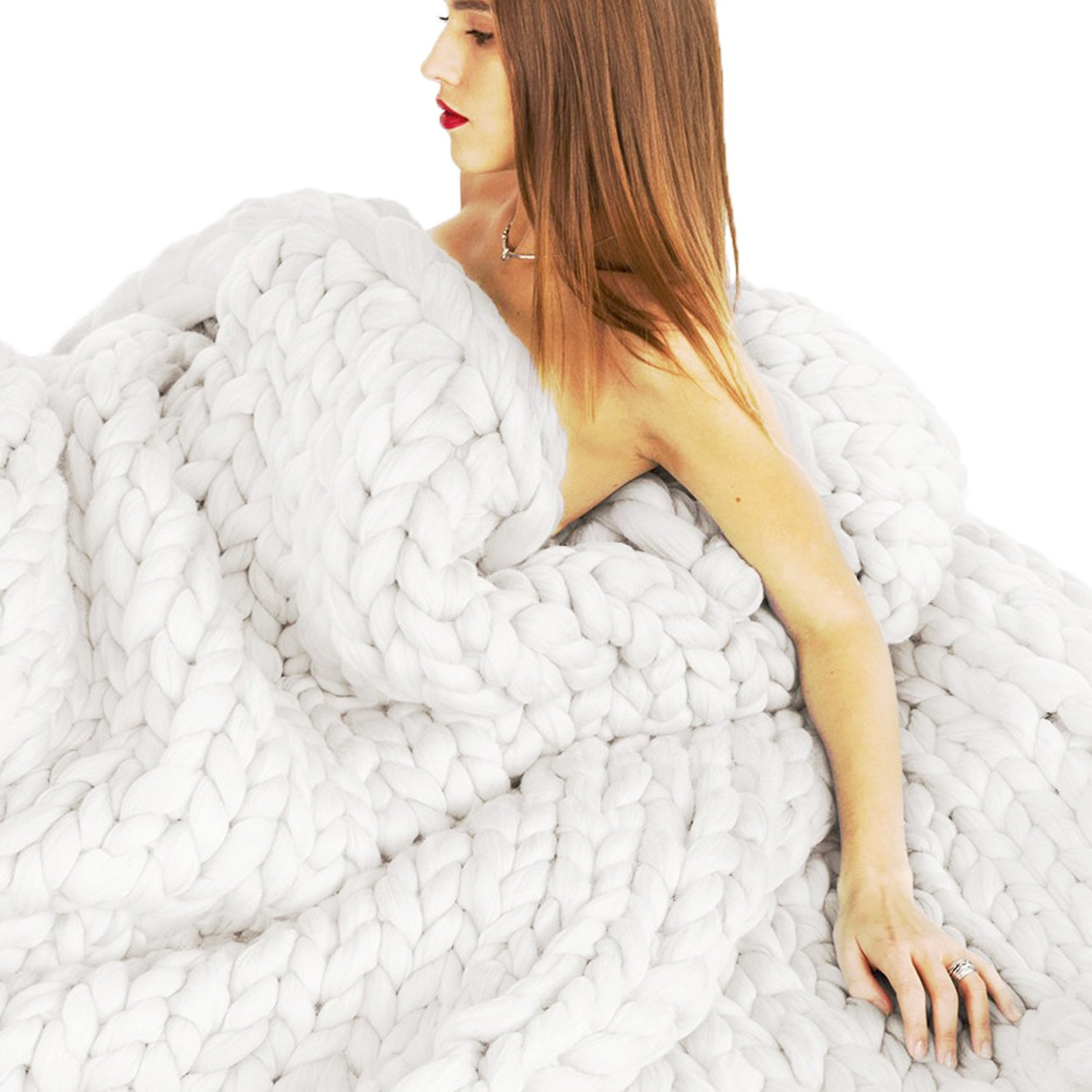 EASTSURE Bulky Knit Throw Chunky Sofa Blanket Hand-made Super Large Pet Bed Chair Mat Rug White 40''x79''