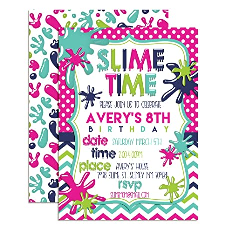 Amazon colorful slime custom personalized birthday party colorful slime custom personalized birthday party invitations for girls twenty 5quotx7quot filmwisefo