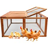 Magshion Wooden Chicken Coop Rabbit Hutch Pet Cage Wood Small Animal Poultry Cage Run Indoor