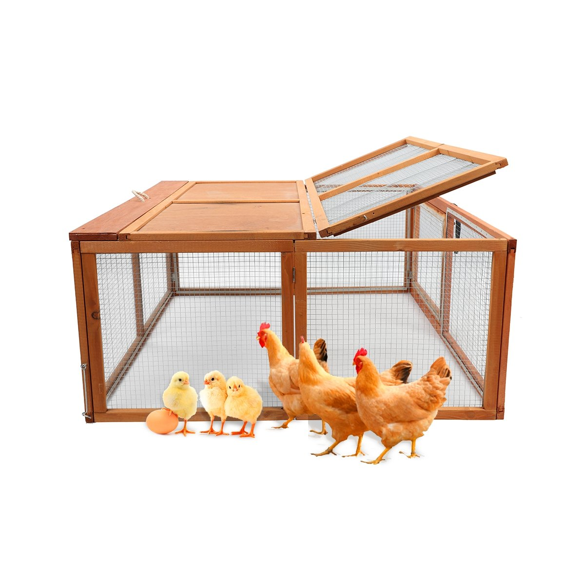 Magshion Wooden Chicken Coop Rabbit Hutch Pet Cage Wood Small Animal Poultry Cage Run (HUTCH003)