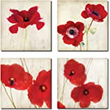 Beautiful Bright Red California Poppies; Set of Four 12x12 Prints