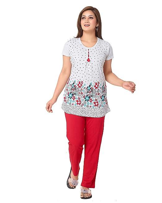 AV2 Women Cotton Floral Print Top & Pyjama Set Pyjama Sets at amazon