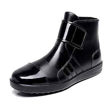 AILU Regenstiefel Damen Kurzschaft Gummistiefel Herren Stiefeletten Boots Schwarz PVC Regen Boots okdHL