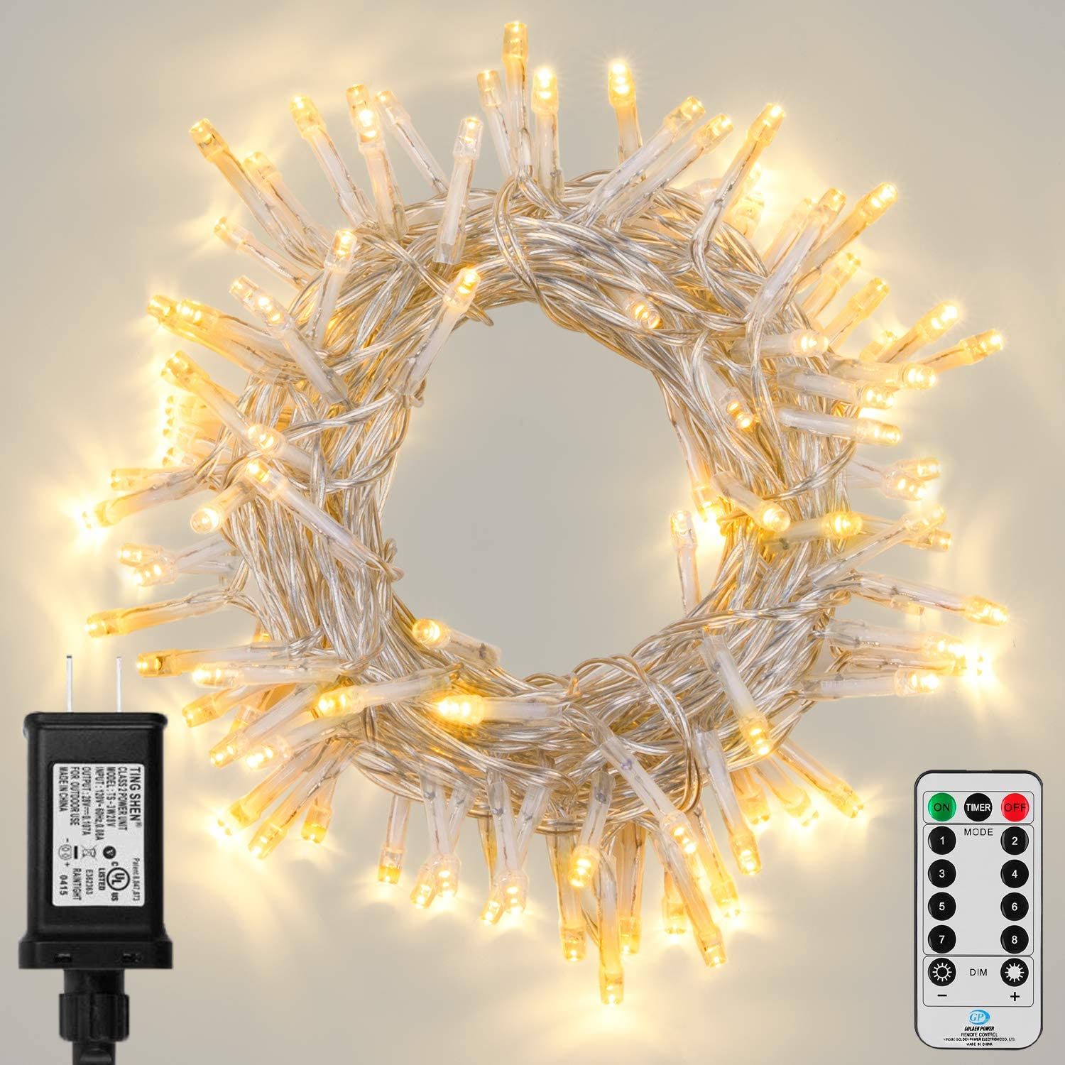 Koxly Outdoor String Lights 800 LED 164FT Long Fairy Tree Light with Remote Control Timer Waterproof Christmas Decorative Extendable Lights Plug in 8 Modes Twinkle Lights for Wedding Party Holiday