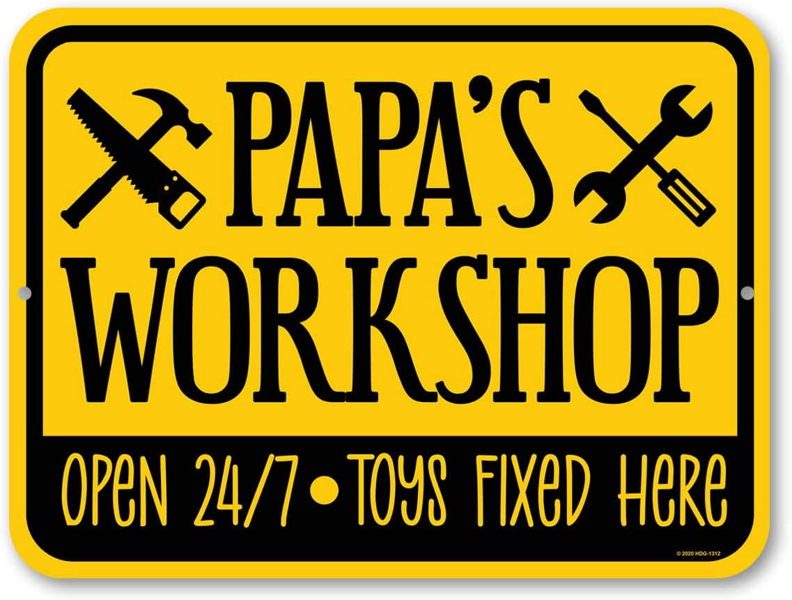 Honey Dew Gifts, Papa's Workshop 12 inches by 9 inches, Home Wall Decor Tin Sign for Grandpa, Papa for Birthday, Grandparent's Day, All Occasion