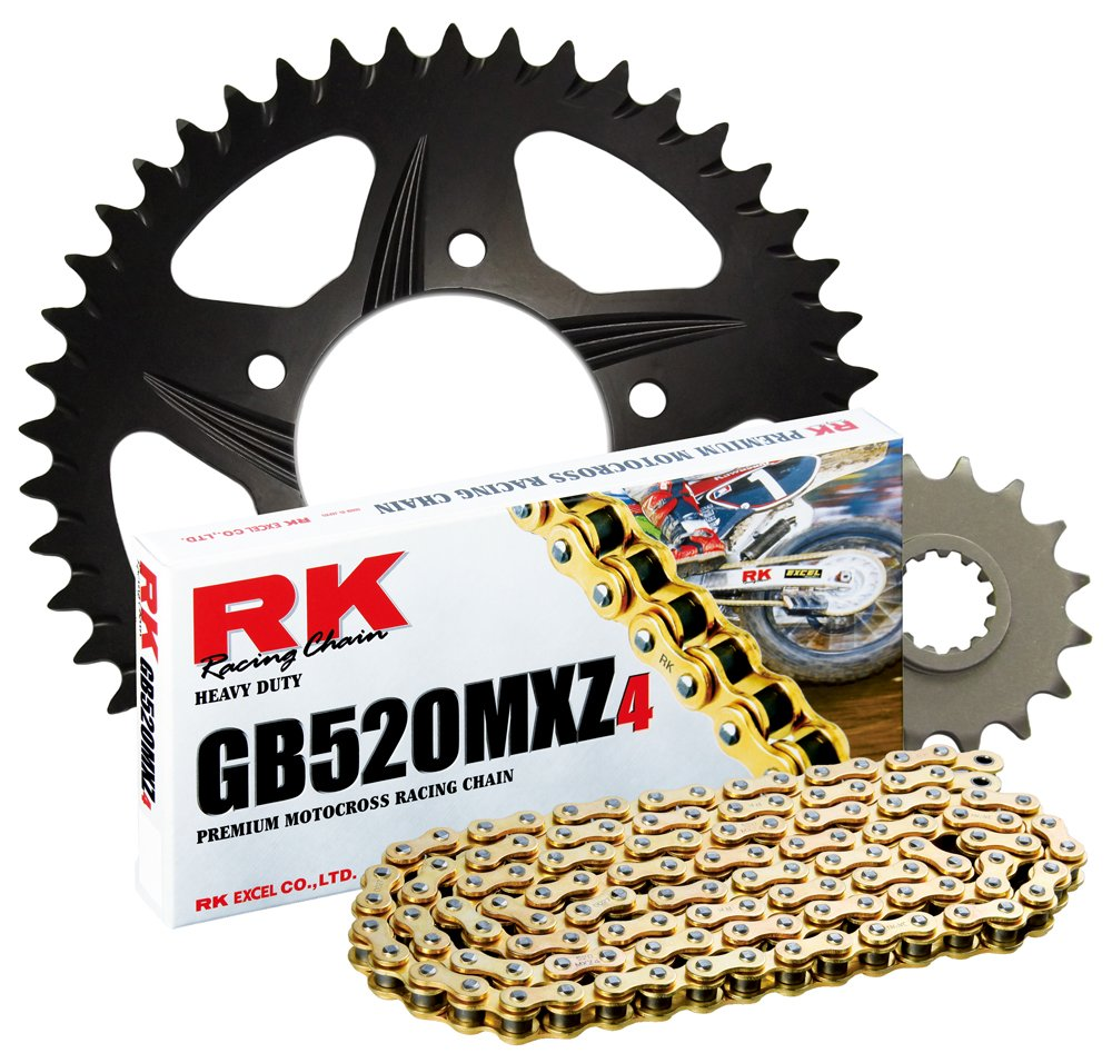 RK Racing Chain 4042-038ZK Black Aluminum Rear Sprocket and GB520MXZ4 Chain Race Kit tr-182151
