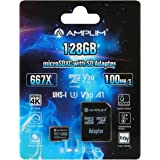 Amplim 128GB Micro SD SDXC Card Plus Adapter - 128 GB microSD Card for Cell Phone, Tablet, Camera, GoPro, Nintendo, Fire…