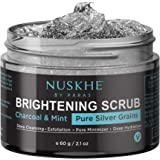 Nuskhe By Paras Charcoal Face Scrub For Brightening, Deep Cleansing & Black Head Removal With Pure Silver & Mint, 60 g