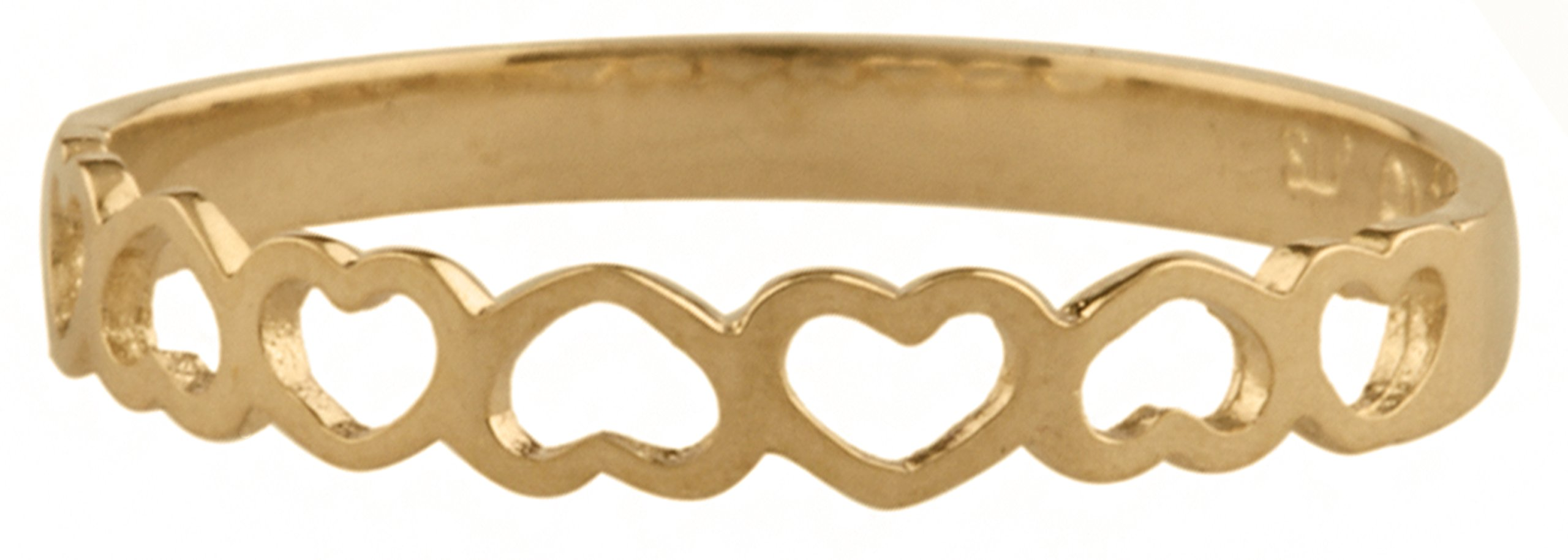10k Yellow Gold Hearts Band Children Ring (GO-1809) by JOTW (Image #2)