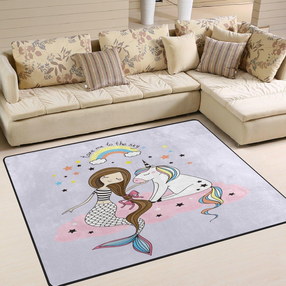 Domoko Cartoon Rainbow Cloud Cloud Cloud Meerjungfrau Einhorn Star Bereich Teppich Teppiche Matte für Wohnzimmer Schlafzimmer, Textil, Mehrfarbig, 160cm x 122cm(5.3 x 4 feet) B07FTGK3JY Teppiche 3f0984