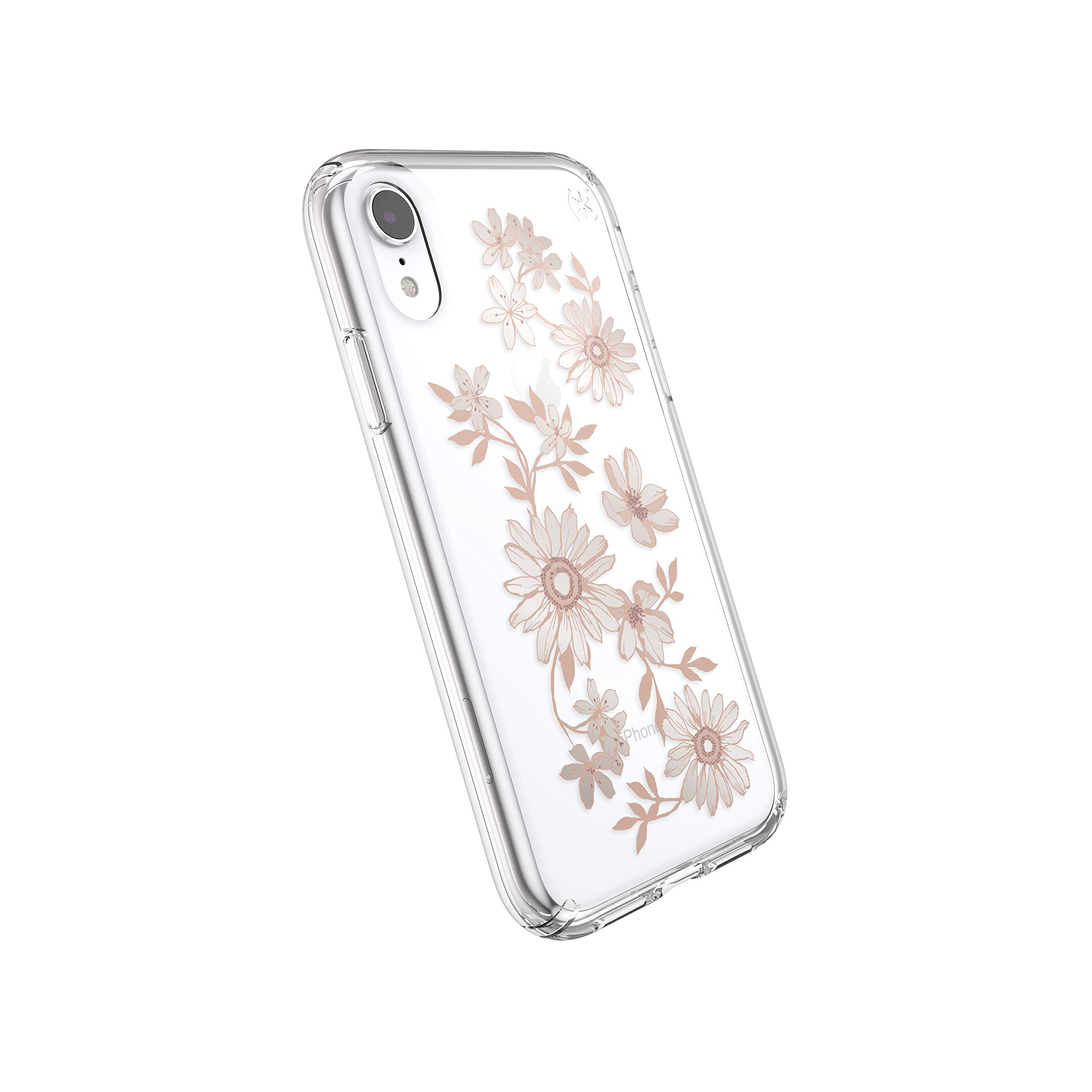 Speck Products Presidio Clear + Print iPhone XR Case, FairytaleFloral Peach Gold/Clear