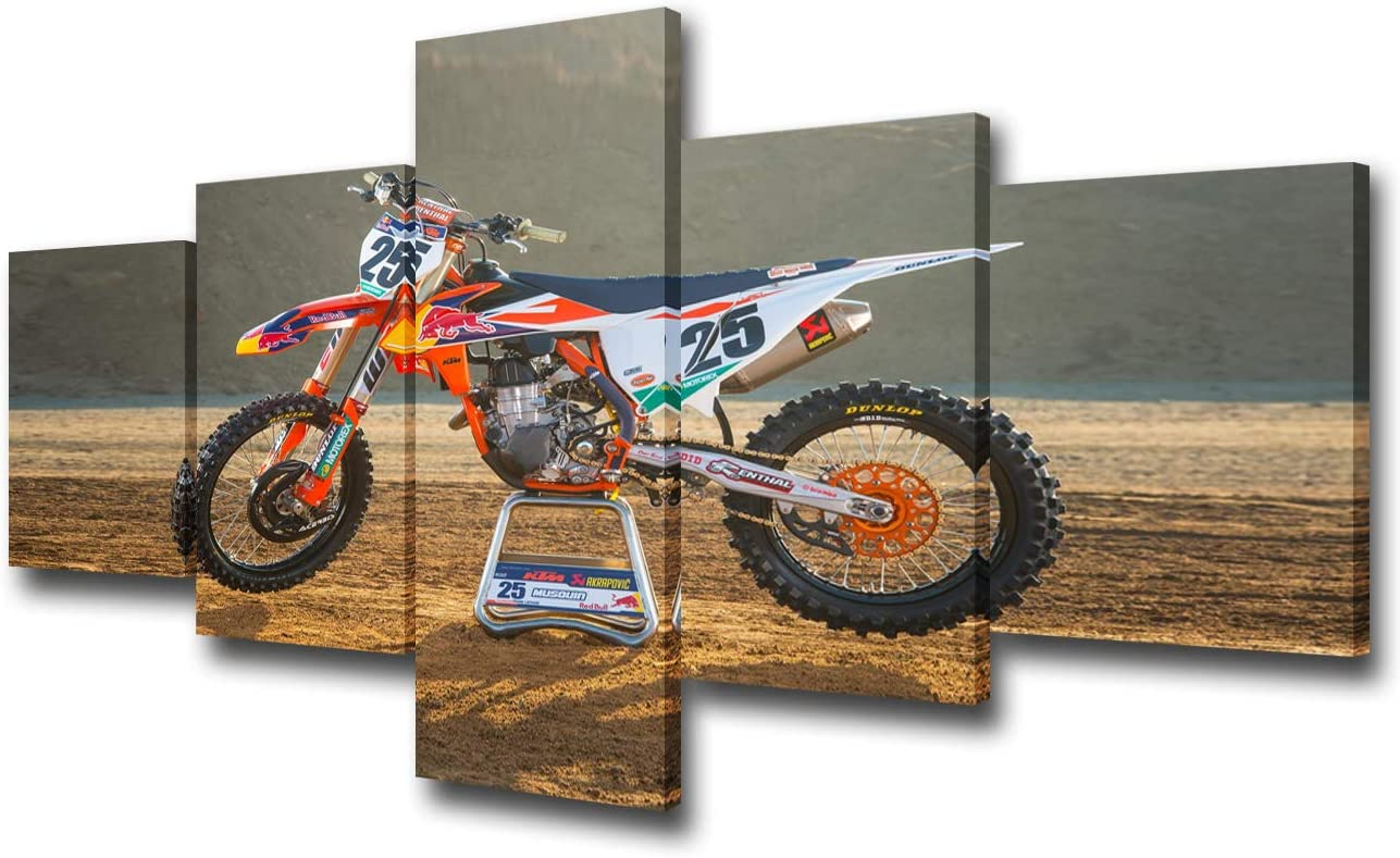 Ktm 250 Sx F Factory Edition Motorcycles Wall Decor Car Pictures for Living Room World bike Championship PaintingsModern Artwork Home Decor Framed Gallery-wrapped Stretched Ready to Hang(50''Wx24''H)