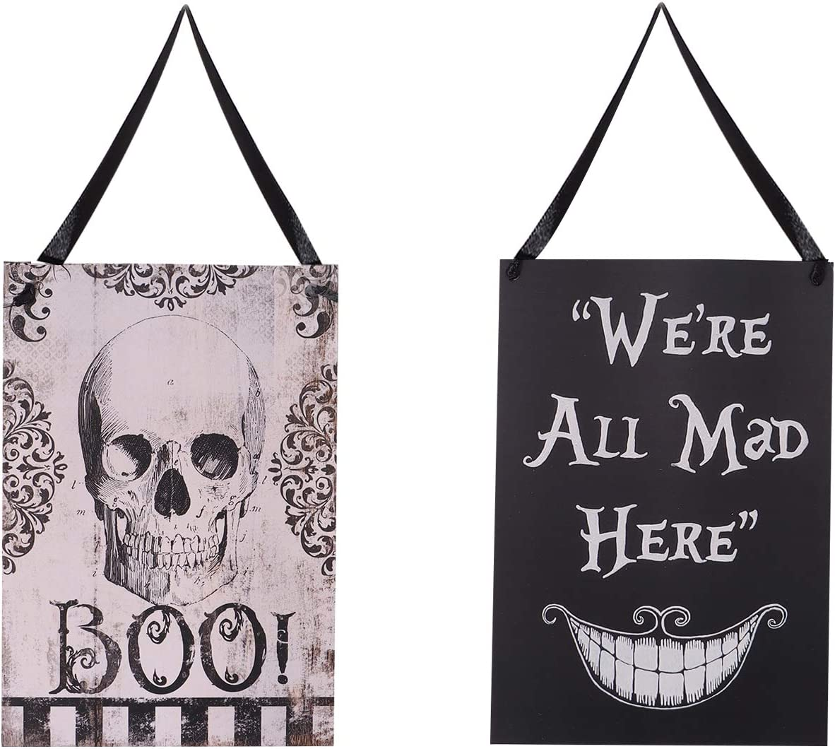 2 Pieces Halloween Themes Welcome Boards Haning Welcome Sign Wooden Hanging Welcome Boards for Home Office Halloween Party Decorations