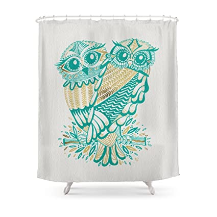 Society6 Owls Turquoise Gold Shower Curtain 71quot