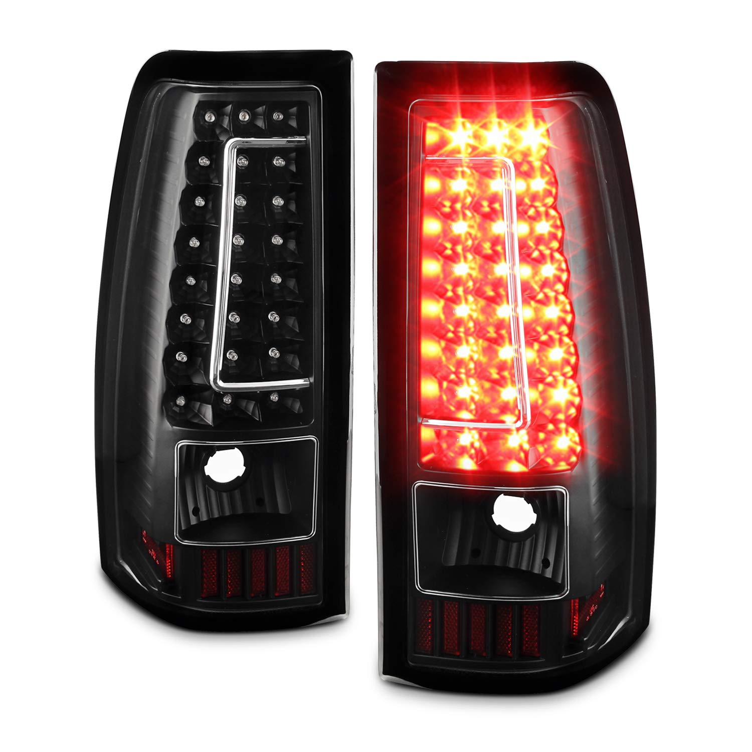 For 03 06 Chevy Silverado 04 06 Gmc Sierra Pickup Truck Black G2 Led Tail Lights Brake Lamps Replacement