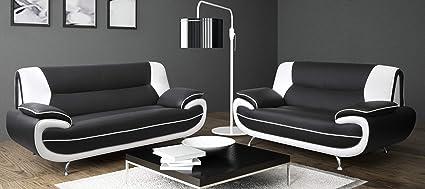 SOFASANDMORE Lewis Black & White PU Leather 3+2 Seater Sofa Suite