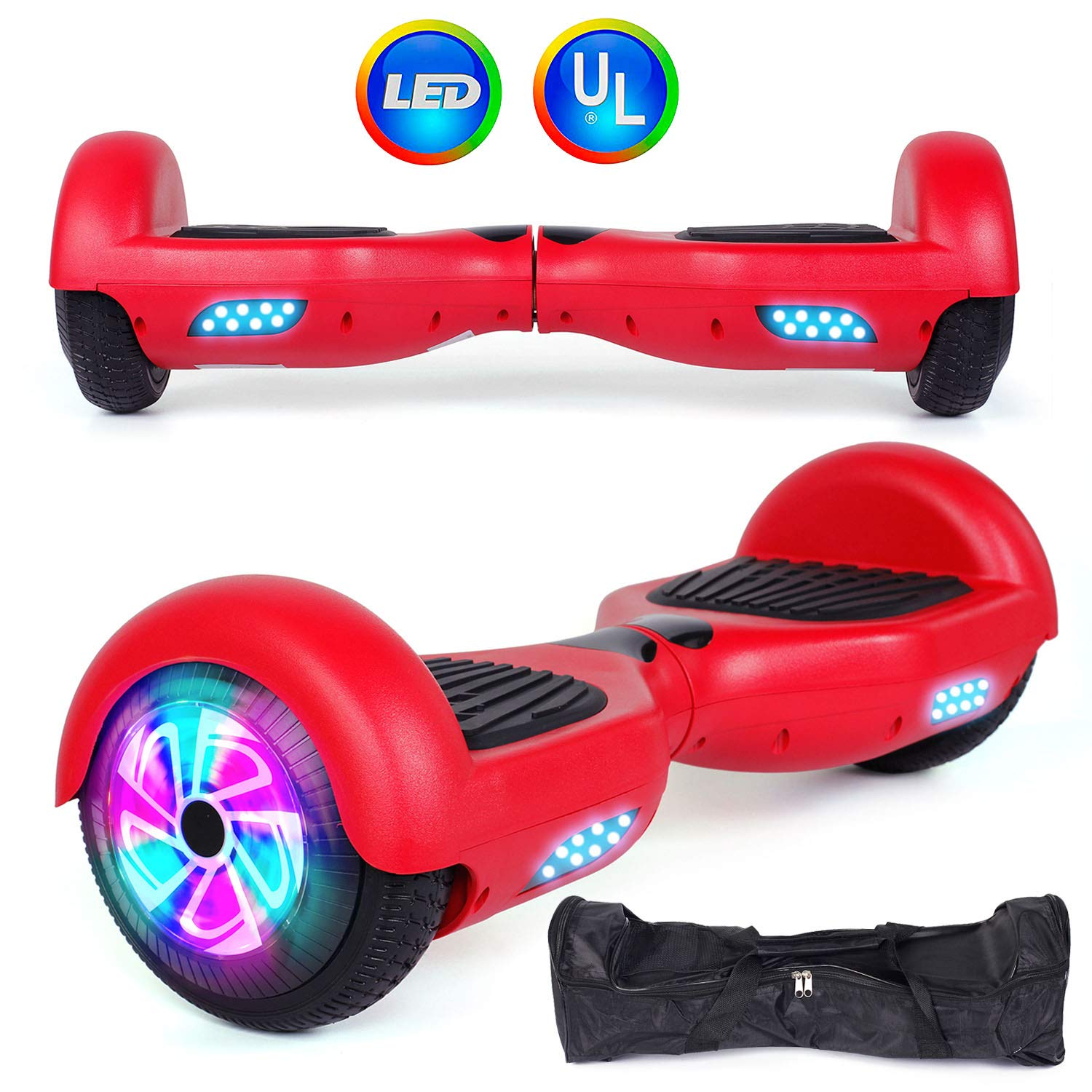 Felimoda Self Balancing Hoverboards with LED Light and Carrying Case,6.5 Inch Two Wheel Smart Electric Scooter for Kids and Adults-UL2272 Certified (Red)