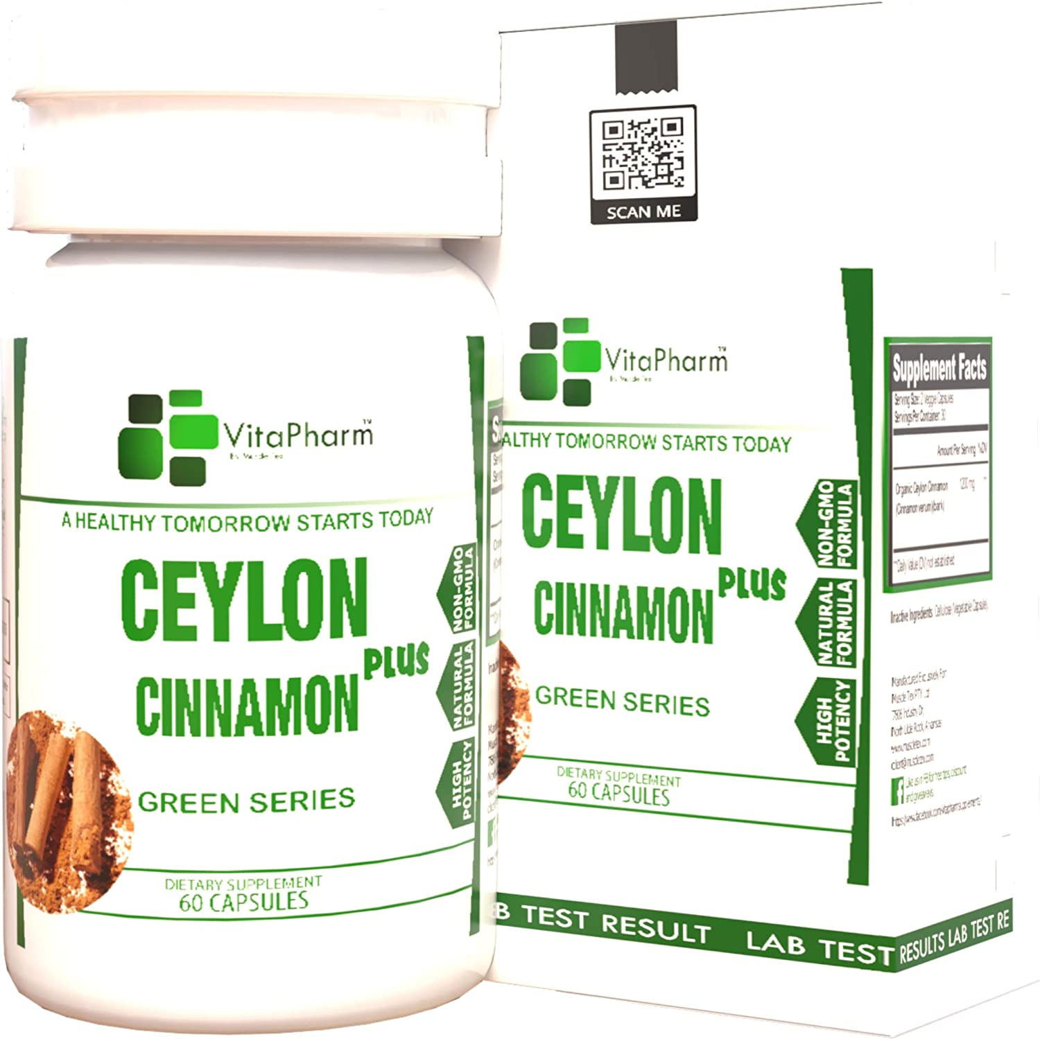 A+ Grade Ceylon Cinnamon, by Vitapharm Nutrition, 1200mg Daily Serving, Blood Sugar Control, Anti-inflammatory, Joint Support, True Sri Lanka Cinnamon