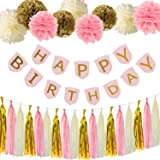 Paxcoo Pink and Gold Happy Birthday Banner with Tissue Paper Pom Poms Tassel Garland for Party Decorations