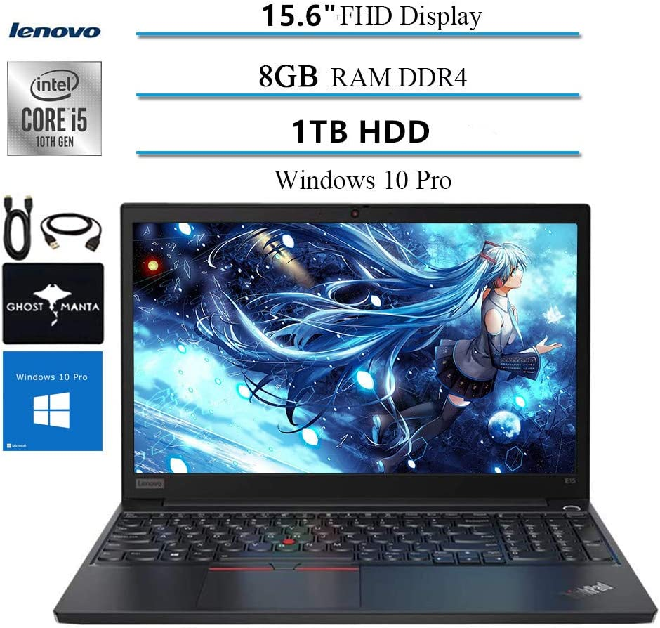 "2020 Lenovo ThinkPad E15 15.6"" FHD Business Laptop Computer, 10th gen Intel i5-10210U (up to 4.20GHz,Beat i7-8550u), 8GB RAM, 1TB HDD, WiFi HDMI Win10 Pro w/Ghost Manta Accessories"