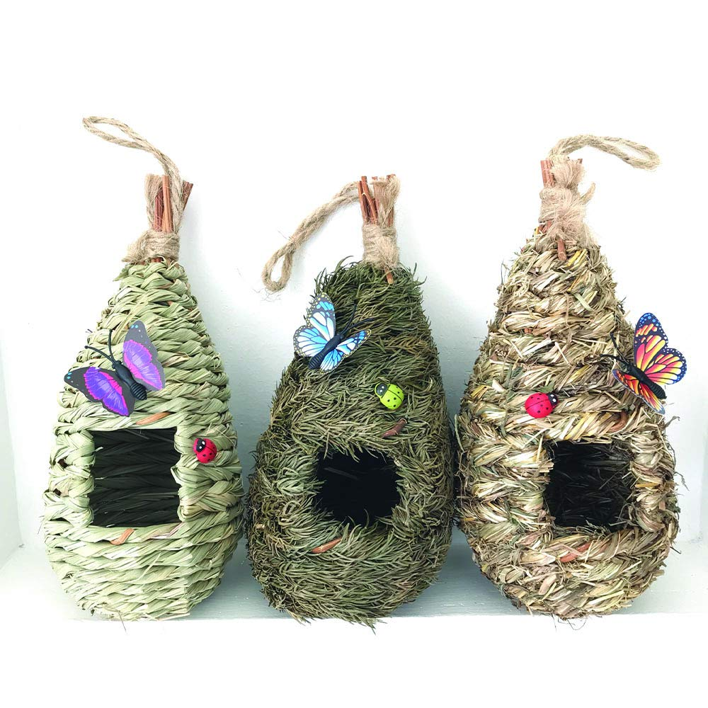 "AROMA TREES Set of 3 Bird Hut 9"" x 4"", Hand Woven Small Hanging Birdhouses Hummingbird Nesting Chickadee House, Wren Nest Fiber, Bird Hideaway Sparrow House for Finch & Canary"