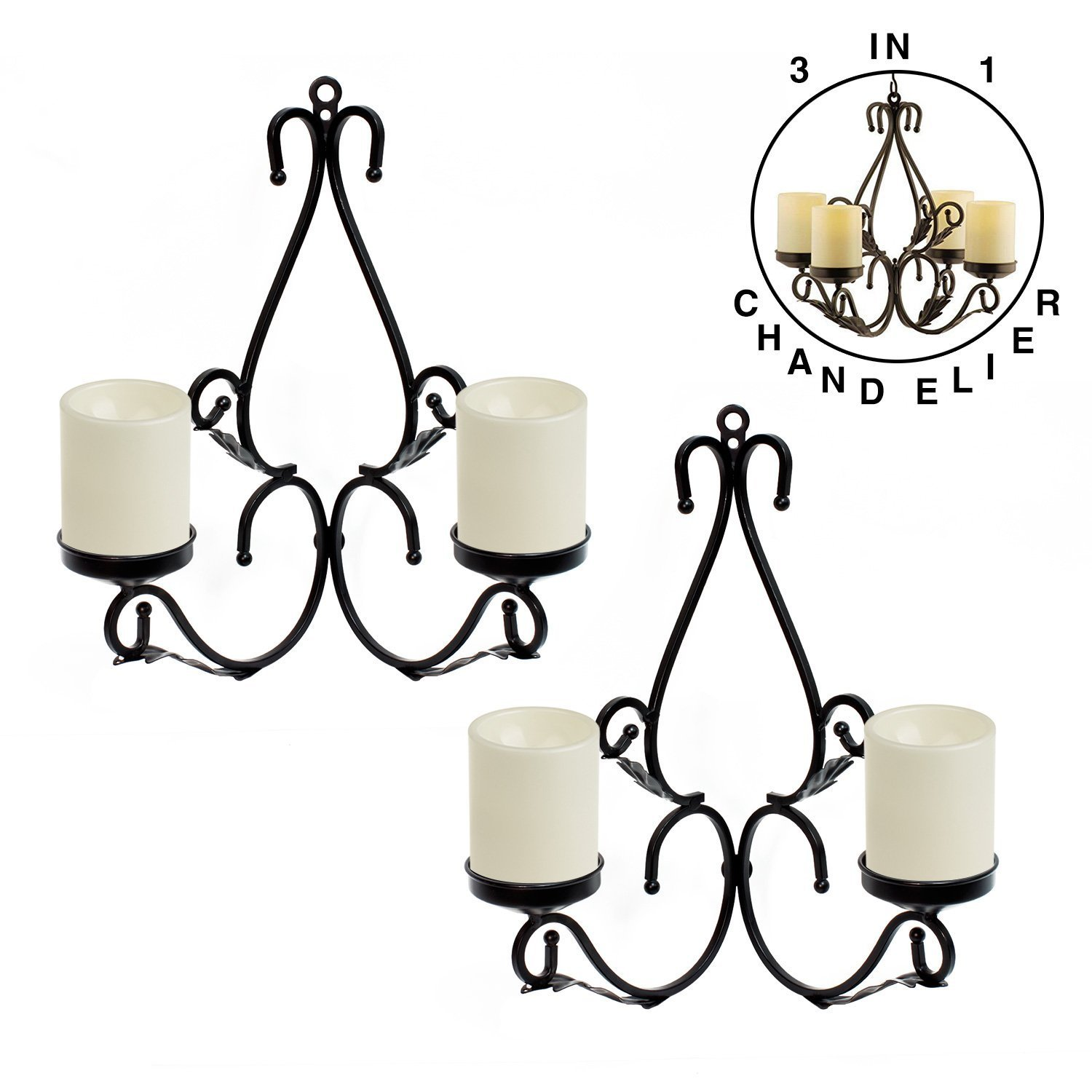 GiveU 3 IN 1 Lighting Chandelier, Metal Wall Sconce Set of 2, Table Centerpiece for Indoor or Outdoor, Chain and Candles Included, Black by GiveU (Image #2)
