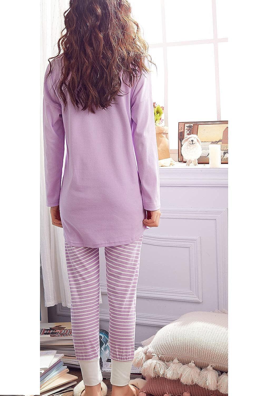 Teens Big Girls Pajama Set Long-Sleeved Sleepwear Cute Heart-Printed Nightwear