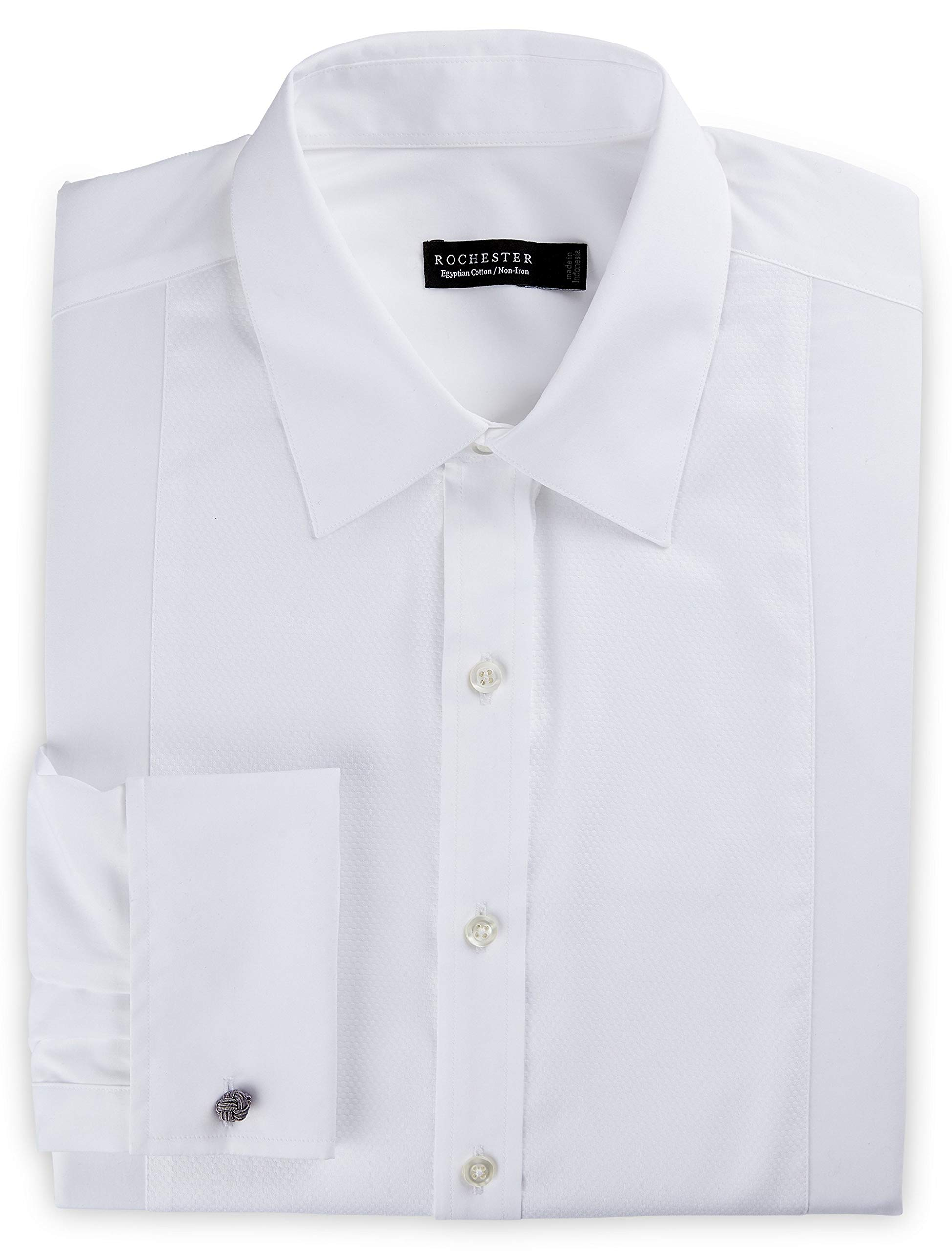 Rochester by DXL Big and Tall Non-Iron Formal Tuxedo Shirt, White, 18-36/37 by Rochester