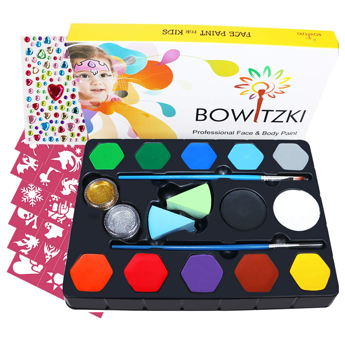 Bowitzki Face Paint kit for kids-30 Vivid Colors,2 Brushes,2 Chunky Glitter,2 sponges,32 Reusable Stencils,Professional Non-Toxic Halloween Party Makeup Body /& face Painting