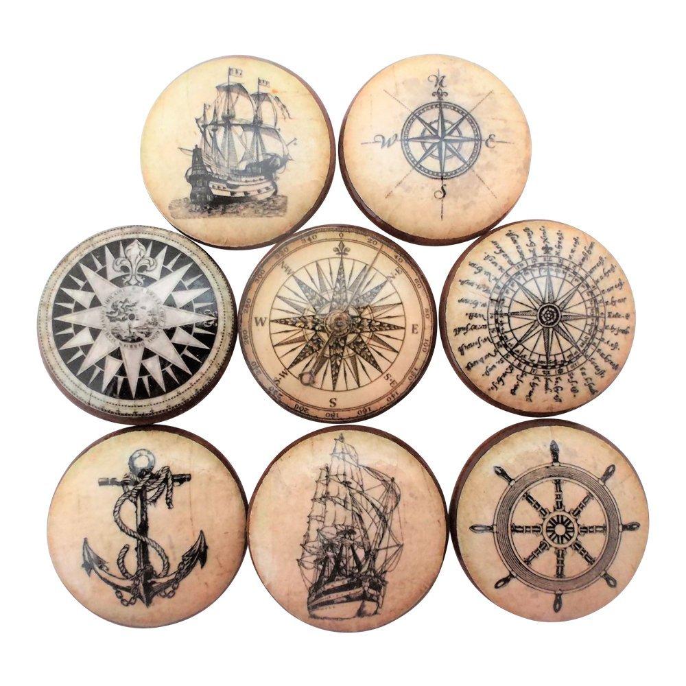 Set of 8 Old World Nautical Wood Cabinet Knobs (Set 1)