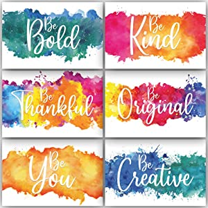 Inspirational & Motivational Posters Abstract Wall Art Décor | Colorful Decorations For Any Room or Office | Positive Quotes & Sayings | Set of Six Colorful 8 x 10 Watercolor Artwork Prints