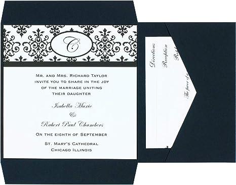 Amazon Com Wilton Black And White Scroll Wedding Invitation Kit 25pc 6 W X 6 H Home Kitchen