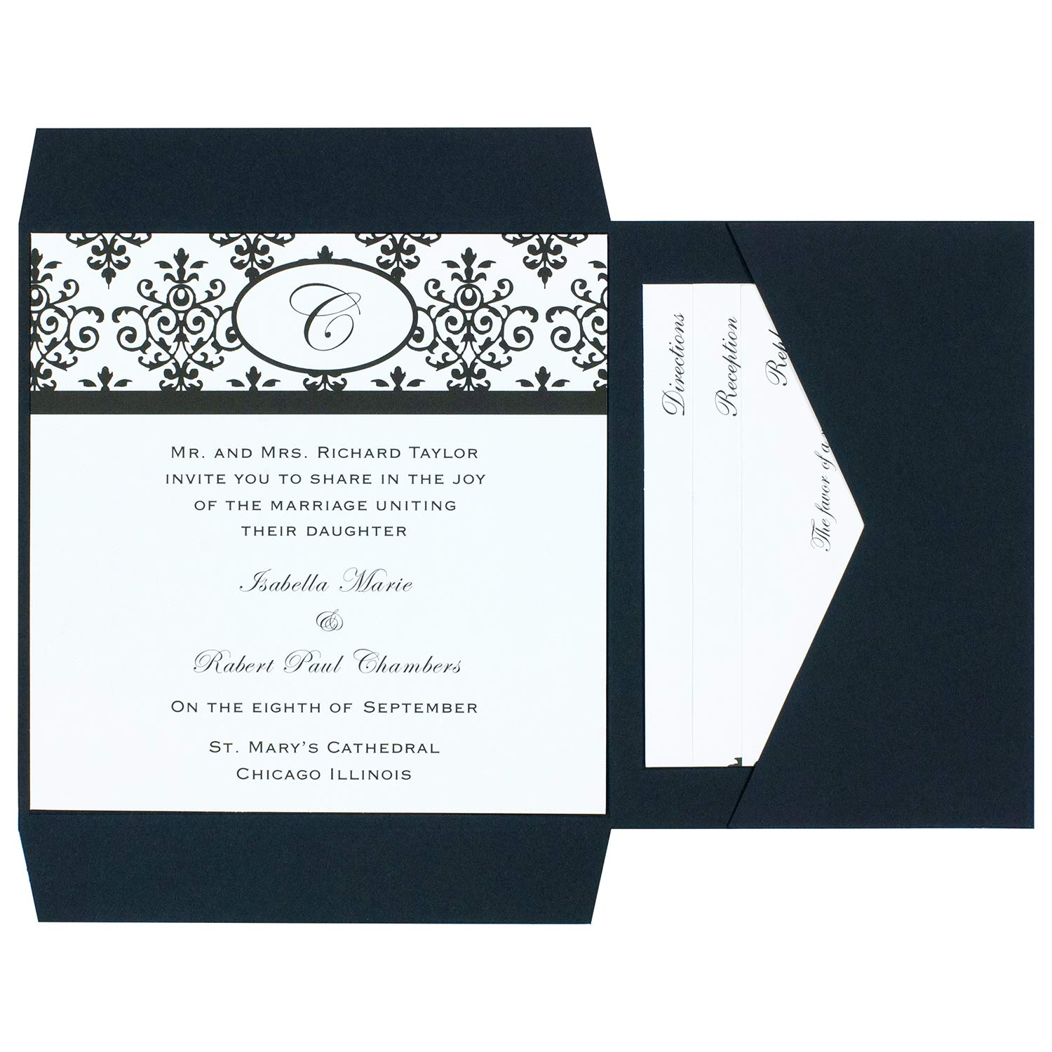 Amazon Com Simplicity Wilton Black White Scroll Monogram Pocket