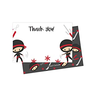 Ninja Thank You Cards (25 Count) With Envelopes and Seal Stickers Bulk Birthday Party Bridal Blank Graduation Kids Children Boy Girl Baby Shower (25ct)