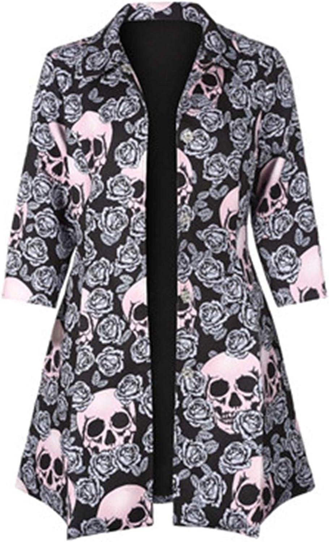 Tyler Morrison Gothic Skull Jacket Women Winter Autumn Rose Pink Elegant Coat Mid-Long Outerwear